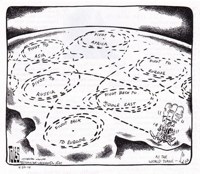 Washington Post political cartoonist Tom Toles, April 2014, Universal Press Syndicate.   Awarded the Pulitzer Prize in editorial cartooning in 1990, his cartoons appear in more than 200 US newspapers.